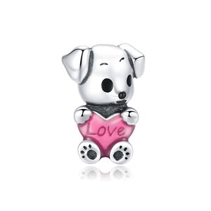 Talisman din argint Loving Heart Puppy