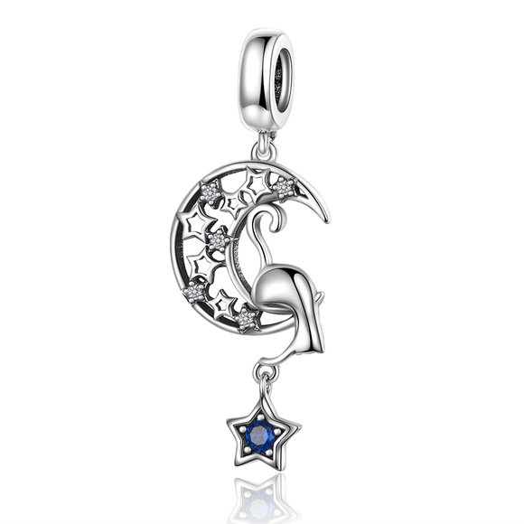 Talisman din argint Moon and Star Cat