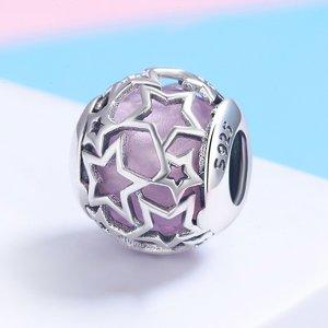 Talisman din argint Opalescent Pink Stars