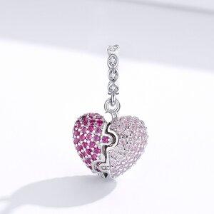 Talisman din argint Open Pink Heart