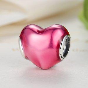 Talisman din argint opritor cu Inima Rosie