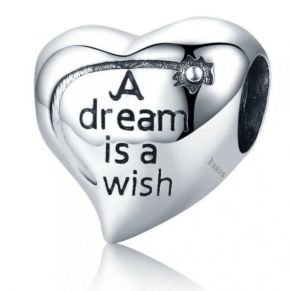 Talisman din argint patinat A dream is a Wish