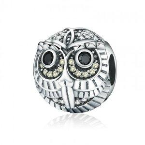 Talisman din argint patinat Black Crystal Owl