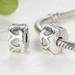 Talisman din argint patinat cu Clips si Inimi Gravate