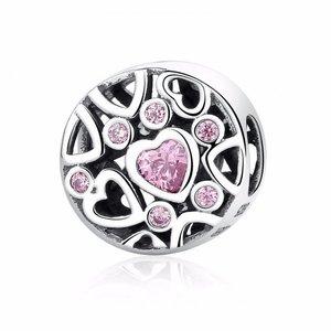 Talisman din argint patinat cu Inimi Decupate si Cristale Roz