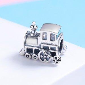 Talisman din argint patinat cu Locomotiva