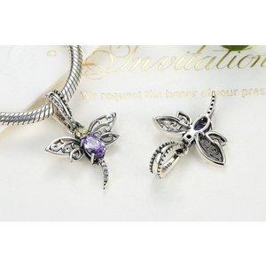 Talisman din argint patinat Dragonfly