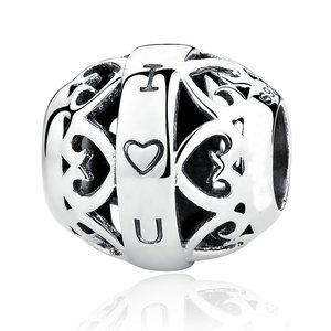 Talisman din argint patinat I Love You