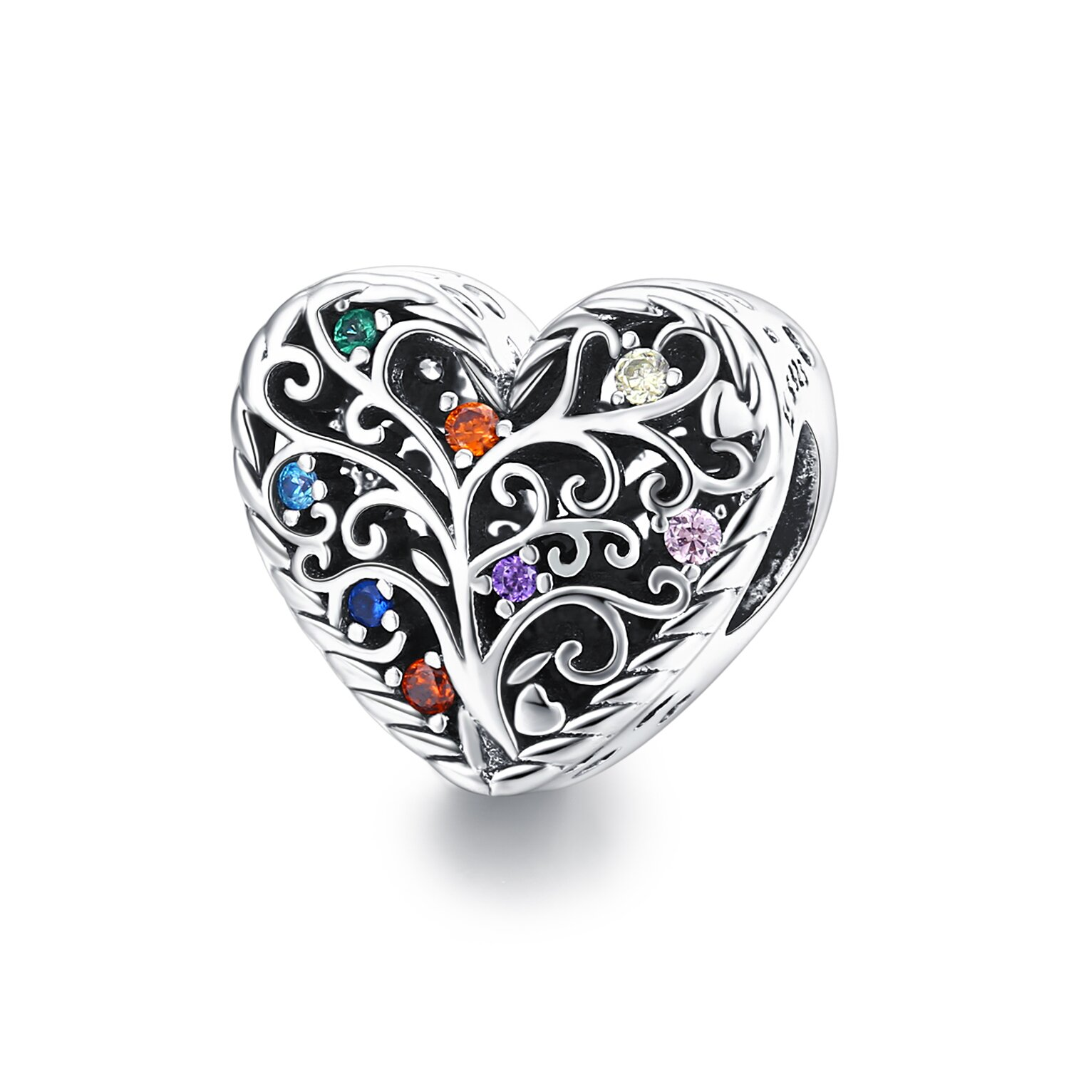 Talisman din argint Pattern Colored Heart