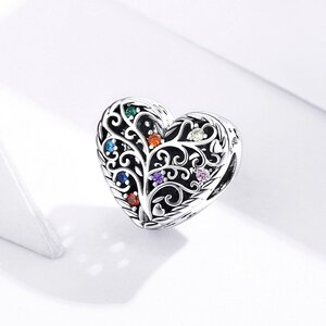 Talisman din argint Pattern Colored Heart