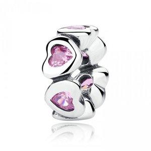 Talisman din argint pentru spatiere cu Inimi si Cristale Roz