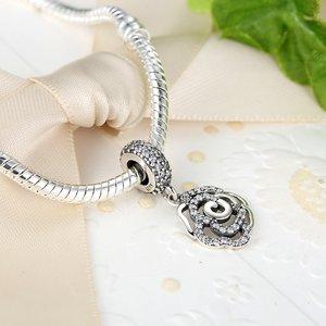 Talisman din argint pentru spatiere cu Trandafir Patinat
