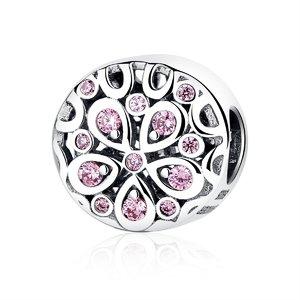 Talisman din argint Pink Flower Charm