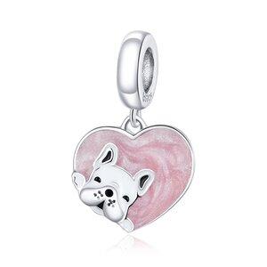 Talisman din argint Pink Heart Bulldog