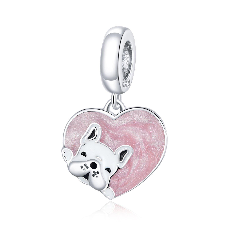 Talisman din argint Pink Heart Bulldog poza 2021