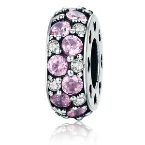 Talisman din argint Pink Heart Spacers