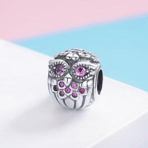 Talisman din argint Pink Owl