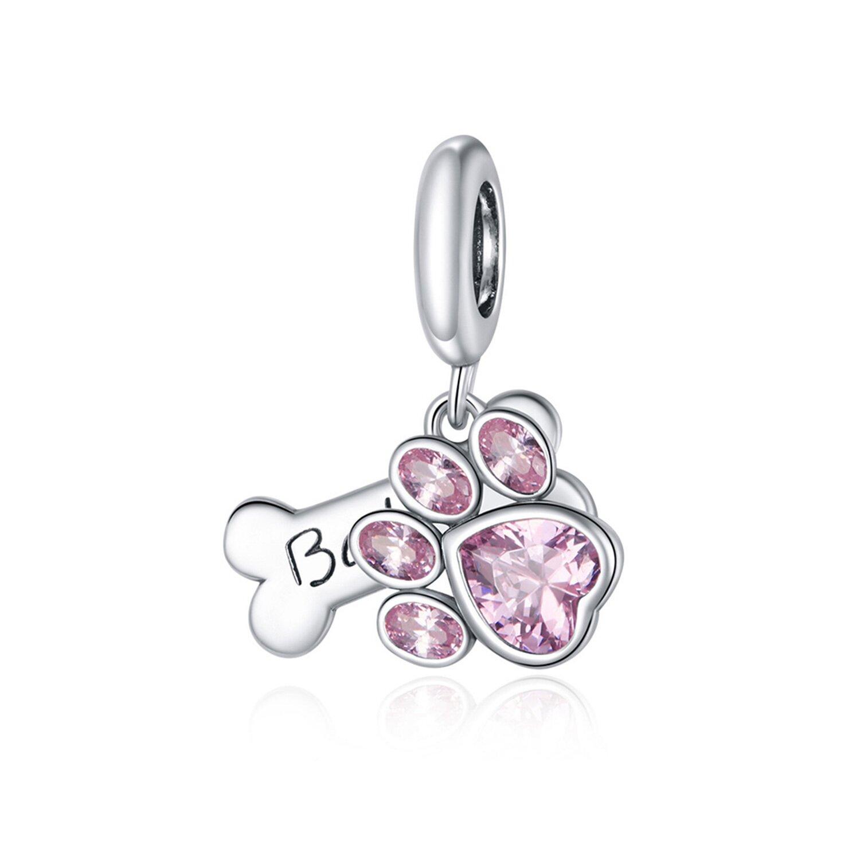 Talisman din argint Pink Paw & Bone