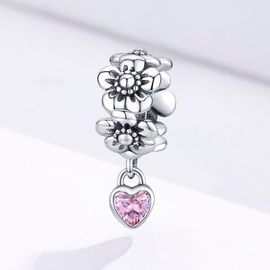 Talisman din argint Pink Pendant Flower