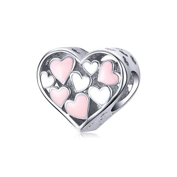 Talisman din argint Pink & White Hearts