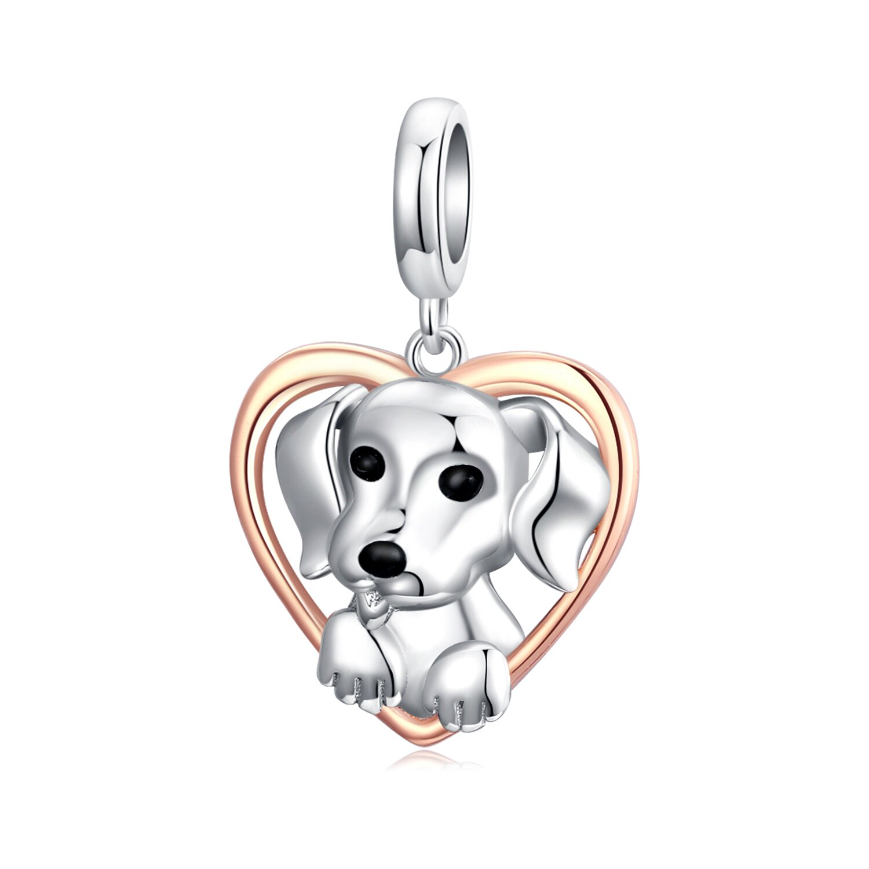 Talisman din argint Puppy Rose Gold Heart poza 2021