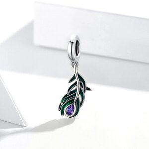 Talisman din argint Purple Drop Feather