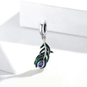 Talisman din argint Purple Drop Feather