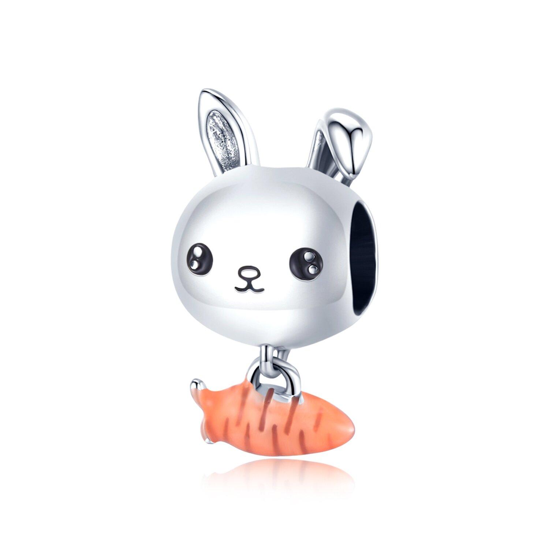 Talisman din argint Rabbit and Carrot poza 2021