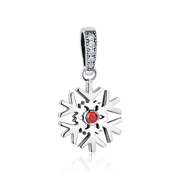 Talisman din argint Red Crystal Snowflake