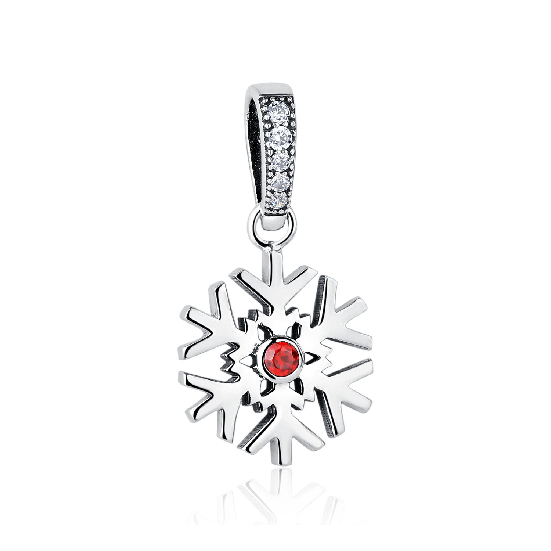 Talisman din argint Red Crystal Snowflake poza 2021