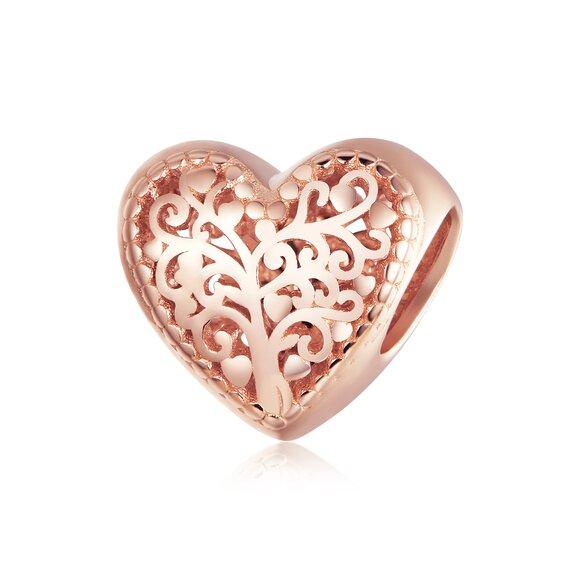 Talisman din argint Rose Gold Heart of Nature