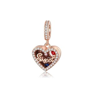 Talisman din argint Rose Gold Heart Sweets