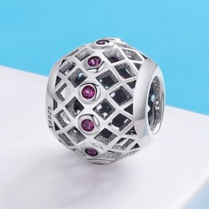 Talisman din argint Round Pink Crystal