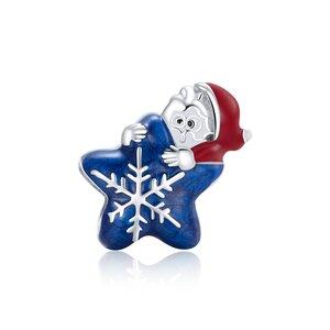 Talisman din argint Santa's Blue Snowflake