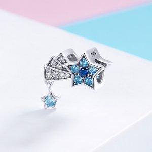Talisman din argint Shimmering Blue Star
