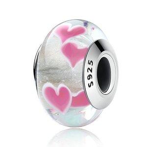 Talisman din argint si sticla cu Inimi Roz