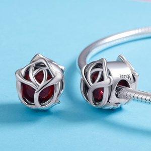 Talisman din argint Silver Red Rose