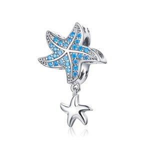 Talisman din argint Sparkling Blue Starfish