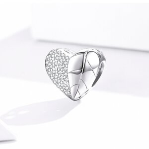 Talisman din argint Sparkling Heart Leaf