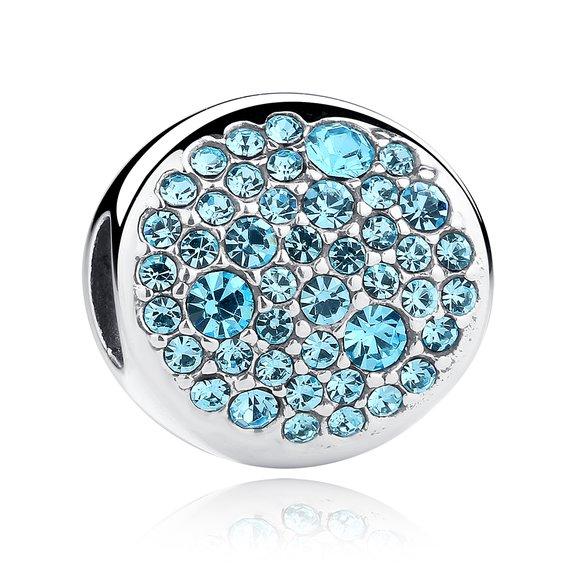 Talisman din argint stralucitor cu Cristale Albastre
