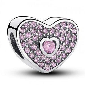 Talisman din argint stralucitor Inima cu Cristale Roz