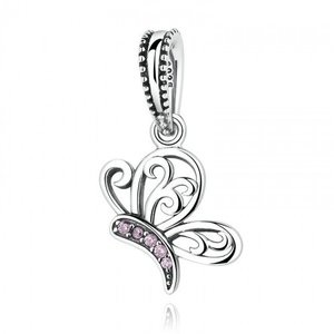 Talisman din argint sub forma de Pandantiv cu Fluture si Cristale