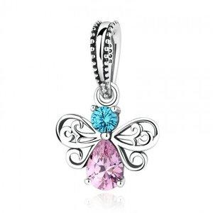 Talisman din argint sub forma de pandantiv cu Fluture si Cristale Colorate