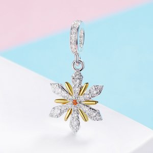 Talisman din argint White and Gold Snowflake