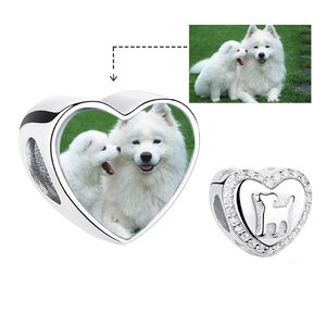 Talisman din argint Custom Photo Heart and Dog