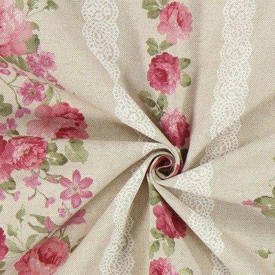 Canvas Linen Look Fabric - Floral Lace Stripe