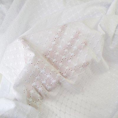 Cotton Embroidery Lattice White