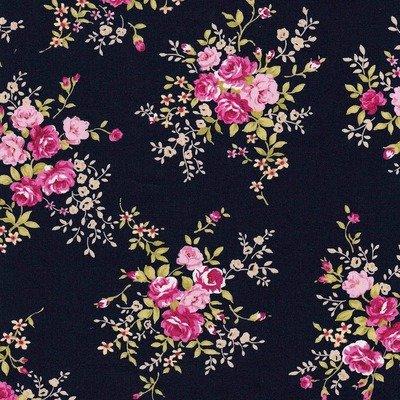 Cotton Poplin Rose Bunch Navy