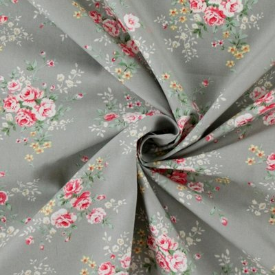 Cotton Poplin - Rose Bunch Silver