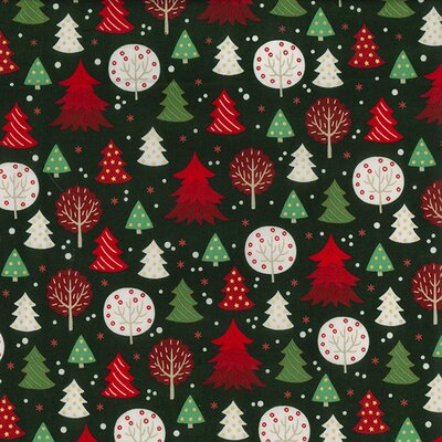 Cotton print - Christmas  Trees Green